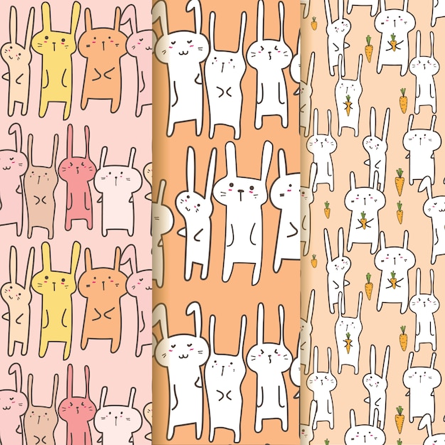 Set di cute bunny pattern background. Vettore Premium