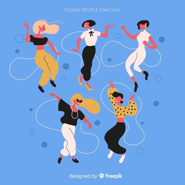 Set di danza ragazza disegnata a mano Vettore gratuito
