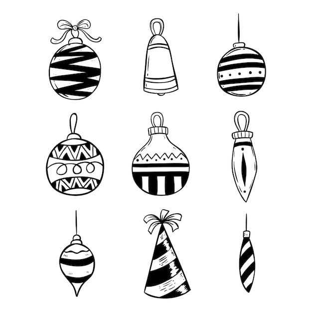 Set di decorazione di luci di natale con stile doodle Vettore Premium