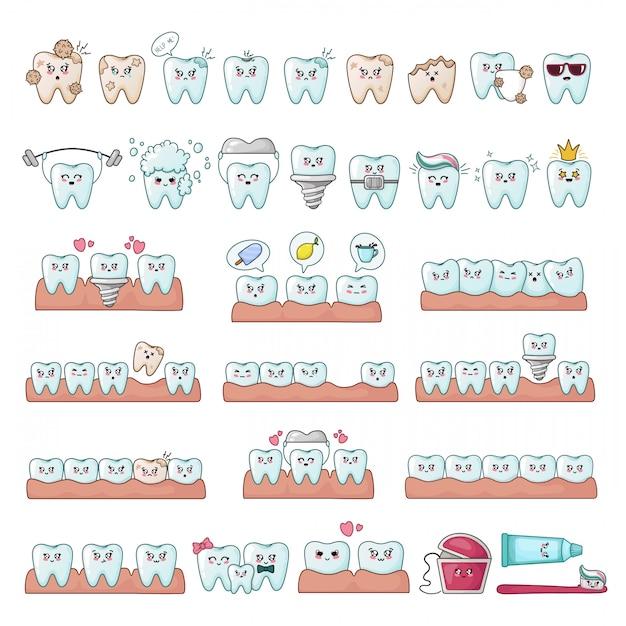 Set di denti kawaii Vettore Premium