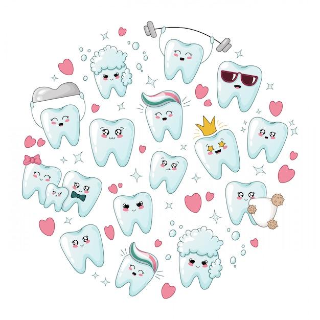 Set di denti sani cartoon kawaii con emodji Vettore Premium