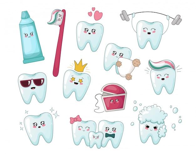 Set di denti sani cartoon kawaii, dentifricio Vettore Premium