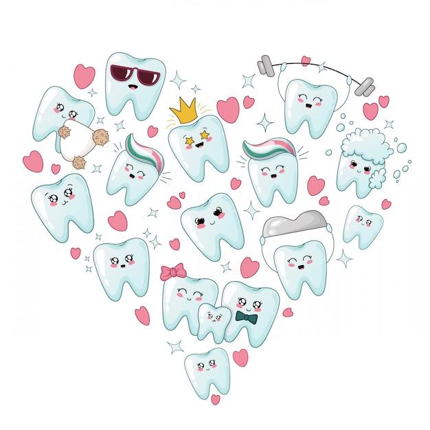 Set di denti sani kawaii con diverse emoji, a forma di cuore Vettore Premium