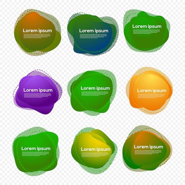 Set di design a forma di liquido Vettore Premium