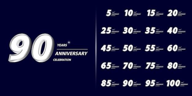 Set di design celebrazione anniversario premium. Vettore Premium