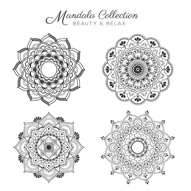 Set di design decorativo e ornamentale mandala per la pagina di colorazione, biglietto di auguri, invito, tatuaggio, yoga e simbolo spa Vettore gratuito