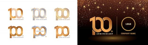 Set di design del logotipo del 100 ° anniversario, celebrazione del centenario Vettore Premium