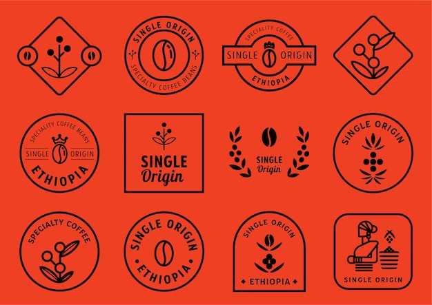 Set di design di badge a singola origine Vettore Premium