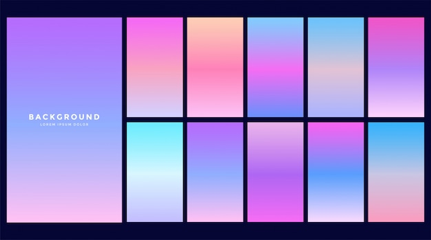 Set di design di gradienti ologramma Vettore gratuito