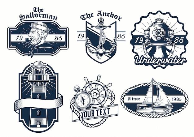 Set di design distintivo nautico Vettore Premium