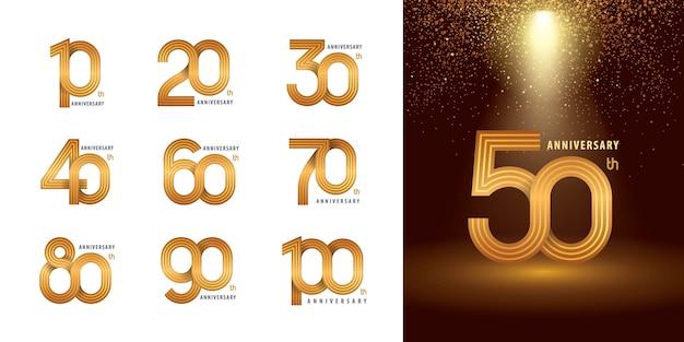 Set di design logotipo anniversario da 10 a 100 anni, logo dell'anniversario degli anni Vettore Premium
