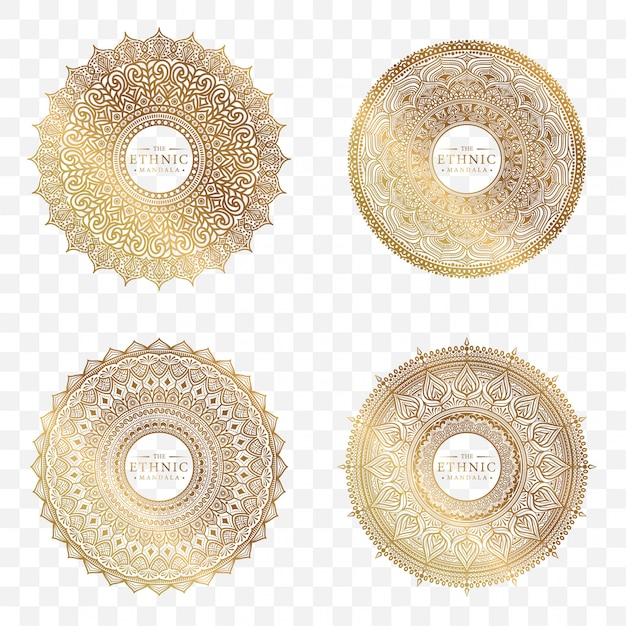 Set di design mandala cerchio Vettore Premium