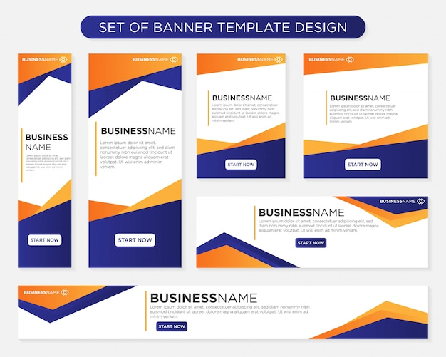 Set di design modello di banner Vettore Premium