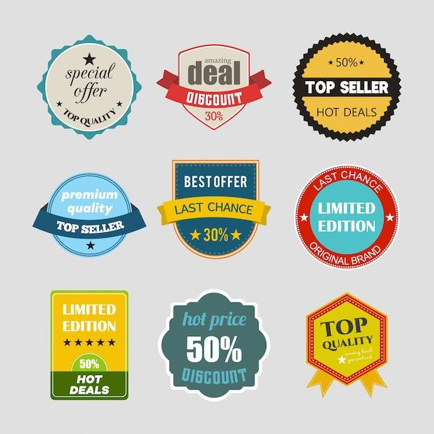 Set di design piatto illustrazioni vendita adesivi vettore per prodotto shopping online sito promozioni e sito web mobile badge materiale annunci stampa Vettore gratuito