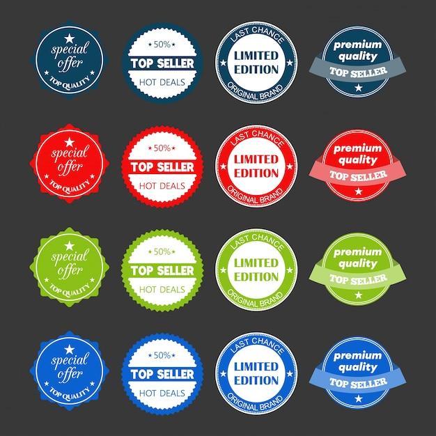 Set di design piatto illustrazioni vendita adesivi vettoriali per il prodotto shopping online sito promozioni e sito web mobile badge materiale annunci stampa Vettore gratuito