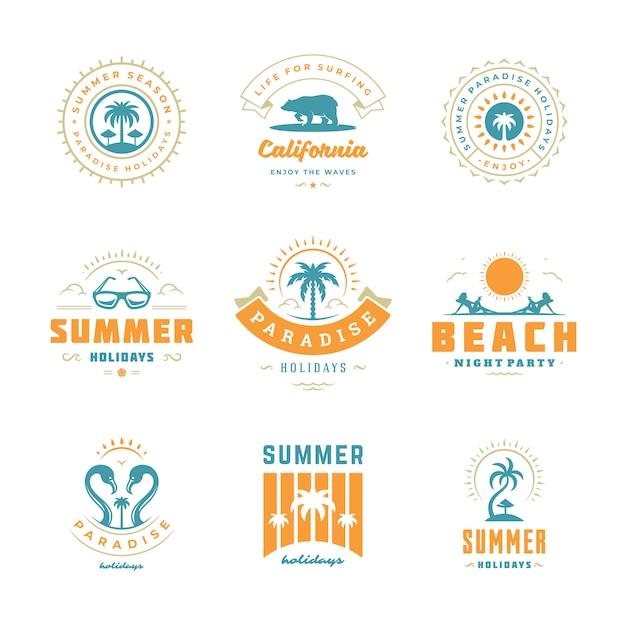 Set di design retrò tipografia loghi vacanze estive. Vettore Premium