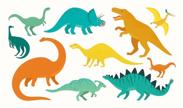 Set di dinosauro del fumetto collezione di icone di simpatici dinosauri. Vettore Premium