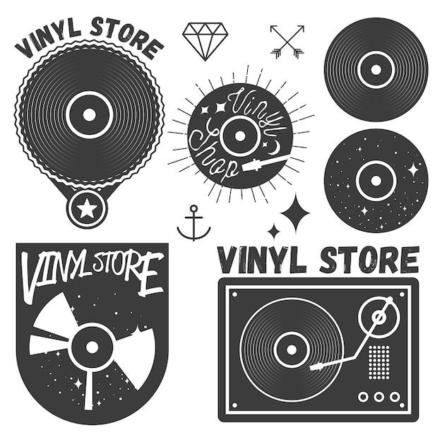 Set di dischi e dischi in vinile Vettore Premium