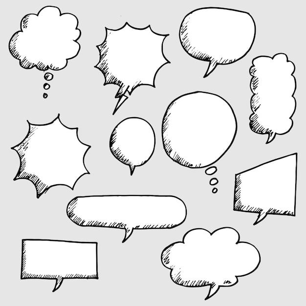 Set di disegnati a mano discorso bolla comica Vettore Premium