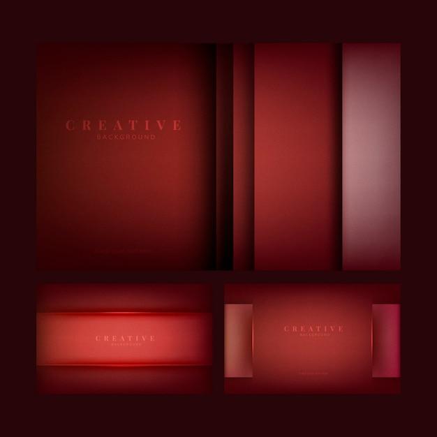 Set di disegni creativi astratto sfondo in rosso scuro Vettore gratuito
