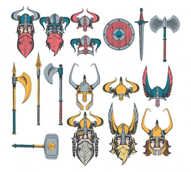 Set di disegni di guerrieri vichinghi Vettore gratuito