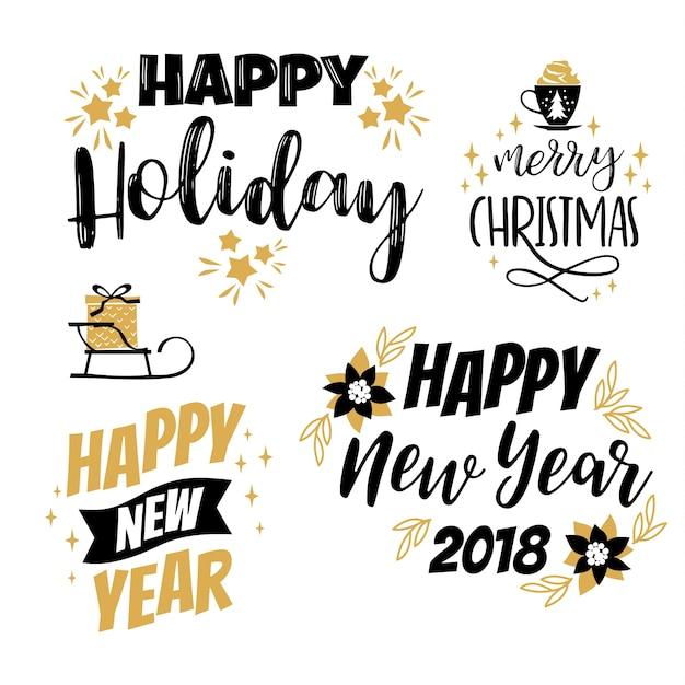 Disegni Di Natale Vettoriali.Set Di Disegni Di Natale E Felice Anno Nuovo Elementi Vettoriali