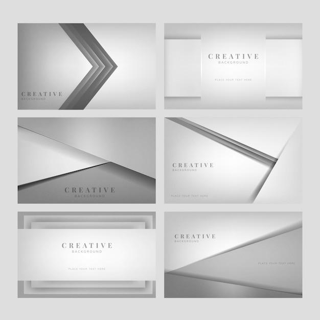 Set di disegni di sfondo creativo astratto in grigio chiaro Vettore gratuito
