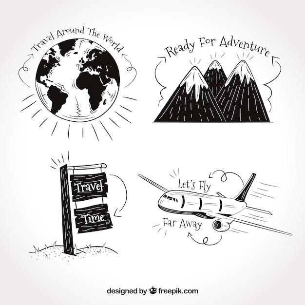 Set di disegni di viaggio con frasi Vettore gratuito