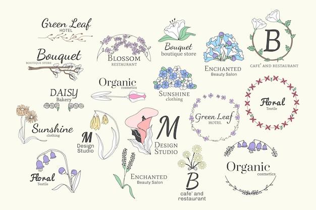 Set di disegni floreali logo Vettore gratuito