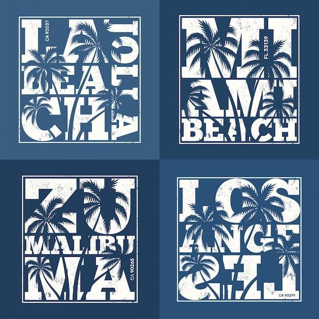 Set di disegni t-shirt resort statunitensi. illustrazione vettoriale Vettore Premium