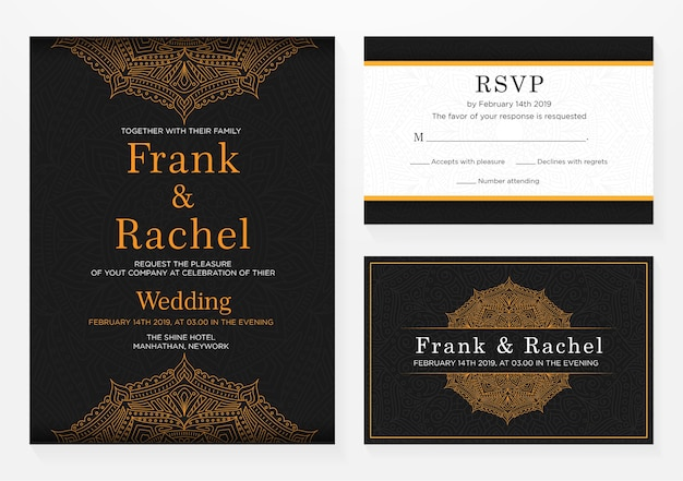 Set di disegno del modello di invito di nozze con stile elegante Vettore Premium
