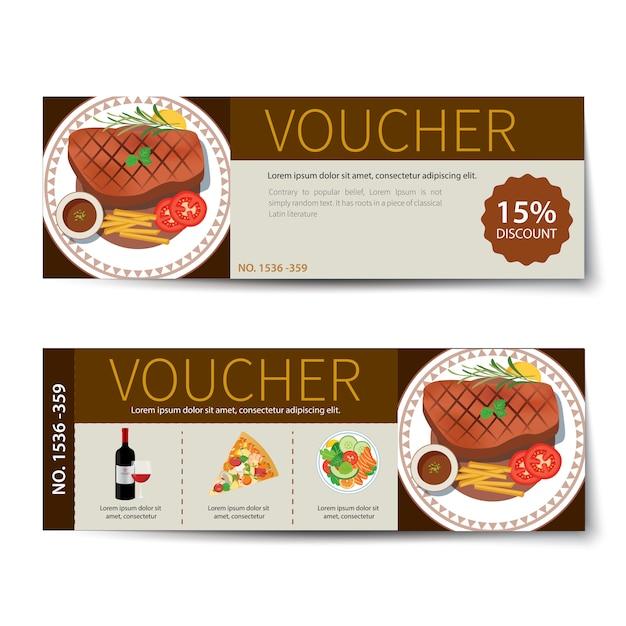 Set di disegno del modello di sconto buono alimentare Vettore Premium