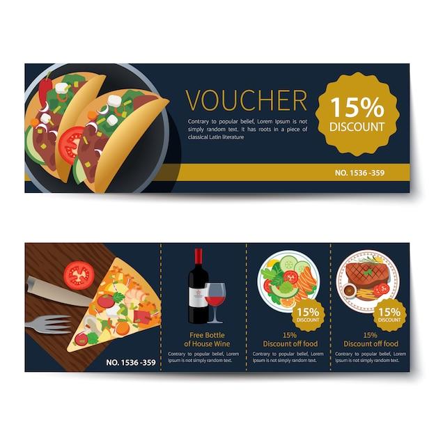 Set di disegno del modello di sconto del buono cibo Vettore Premium