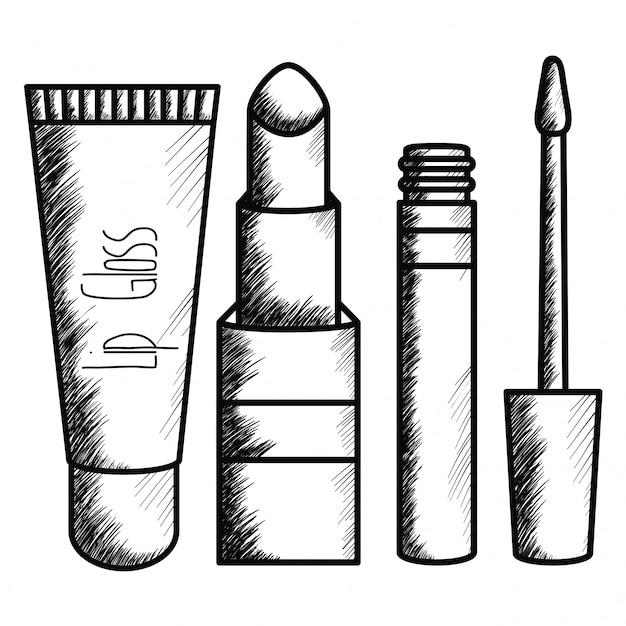 Set di disegno di accessori trucco Vettore gratuito