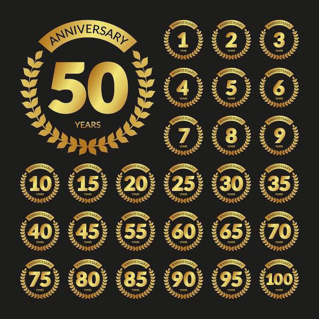 Set di distintivi di anniversario dell'annata dorata Vettore Premium