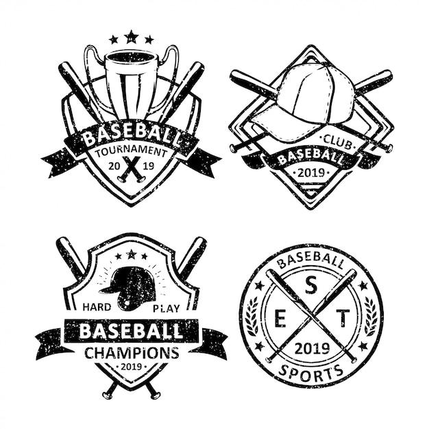 Set di distintivi, emblemi e logo vintage di baseball Vettore Premium
