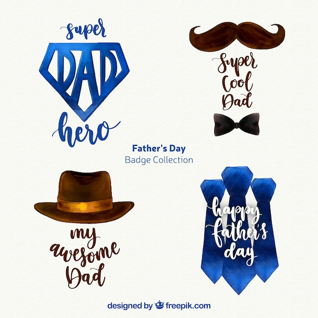 Set di distintivi festa del papà con accessori Vettore gratuito