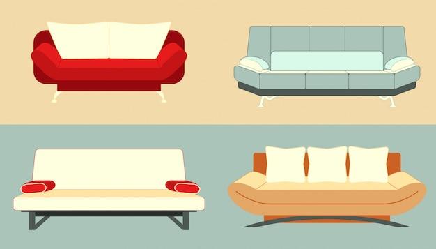Set di divani Vettore Premium
