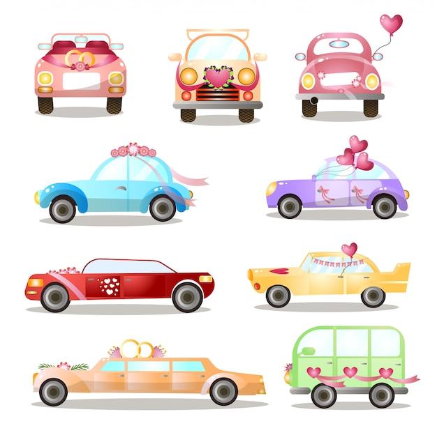 Set di diverse auto colorate di nozze o vacanze, strade della città Vettore Premium