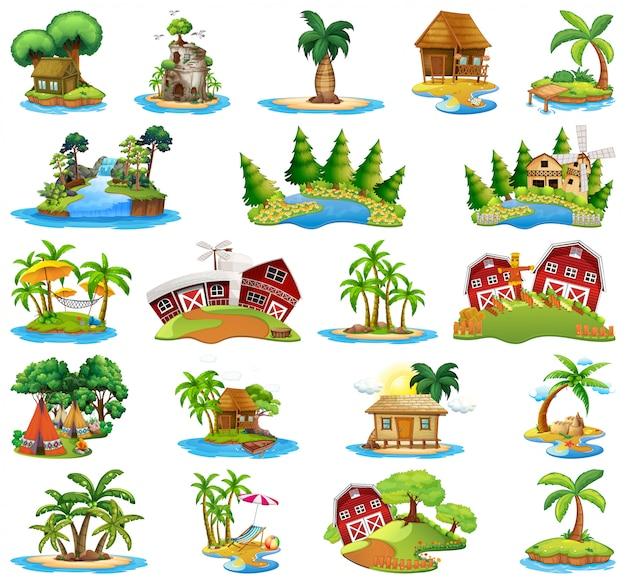 Set di diverse isole Vettore gratuito