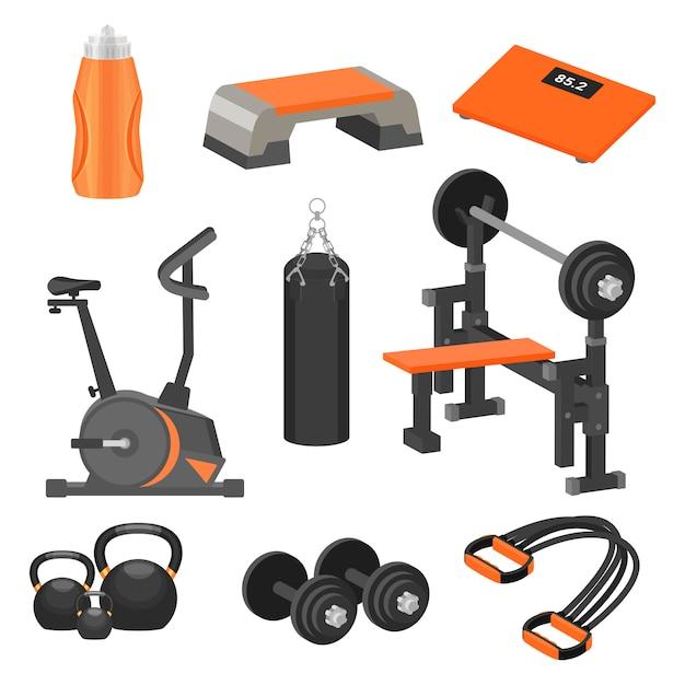 Set di diversi articoli sportivi e attrezzi ginnici. tema di stile di vita sano. elementi per poster pubblicitari o banner Vettore Premium
