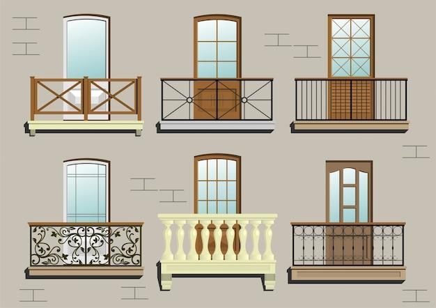 Set di diversi balconi classici in grafica vettoriale. Vettore Premium
