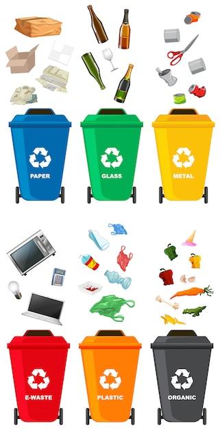 Set di diversi bidone della spazzatura Vettore Premium