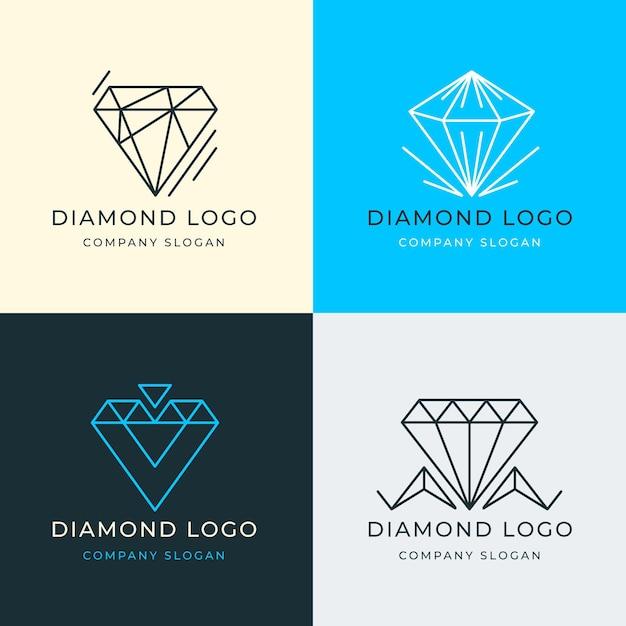 Set di diversi diamanti logo Vettore gratuito