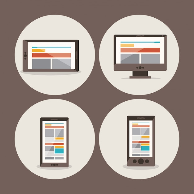 Set di diversi dispositivi: smartphone, tablet, computer e laptop Vettore Premium