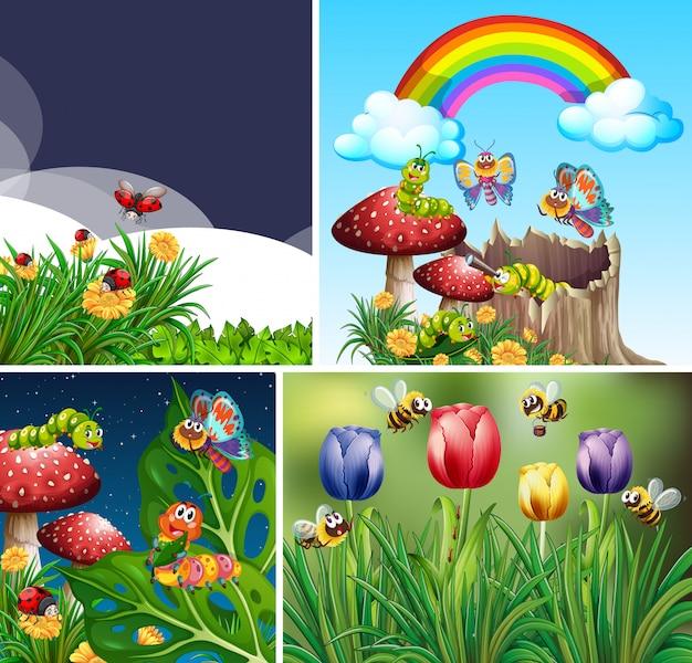Set di diversi insetti che vivono sullo sfondo del giardino Vettore gratuito