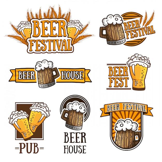 Set di diversi loghi di birra Vettore Premium