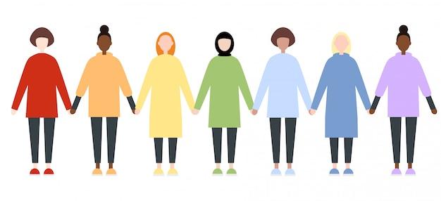 Set di diversi personaggi femminili di razza in abiti arcobaleno Vettore Premium