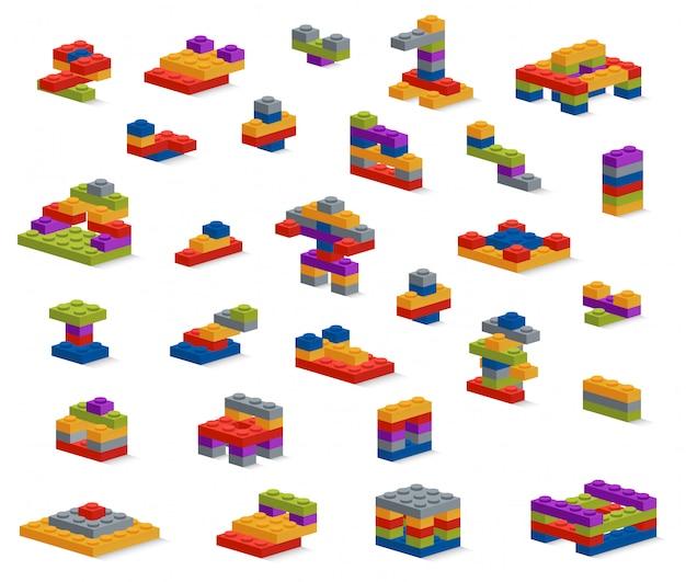 Set di diversi pezzi di plastica costruttore, varie costruzioni Vettore Premium