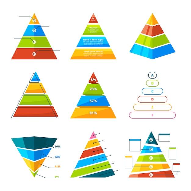 Set di diversi triangoli e piramidi con livelli Vettore Premium